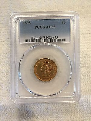 1898 $5 Gold Liberty Head Half Eagle PCGS AU 55 Population 51