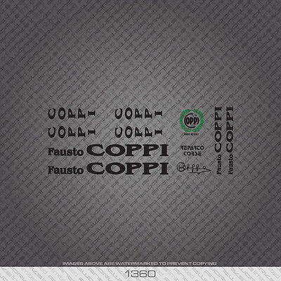 01107 Fausto Coppi Bicycle Stickers Transfers Decals White