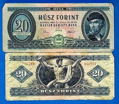 Hungary P-169 20 Forint Year 1957-80 Circulated Banknote