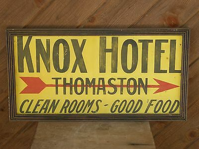 Old Knox Hotel Thomaston Clean Rooms Food Advertising Trade Sign Vintage Antique