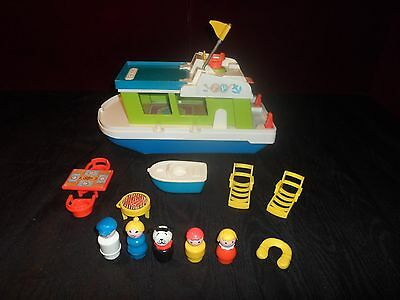Vintage Fisher-Price Little People Play Family Happy Houseboat #985 Complete