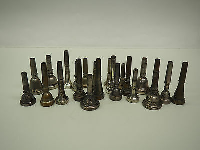 Lot Of 23 Brass Horn Instrument Mouthpieces