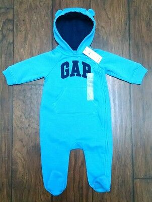 NWT Baby Gap Blue Romper Hoodie 3-6 months Infant Boy Fall Winter
