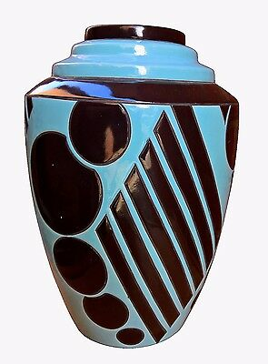 Art Deco Montieres Geometric French 1920S Art Pottery Vase By Geno