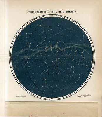 1895 STARS CONSTELLATIONS SOUTHERN HEMISPHERE CELESTIAL Antique Lithograph Map