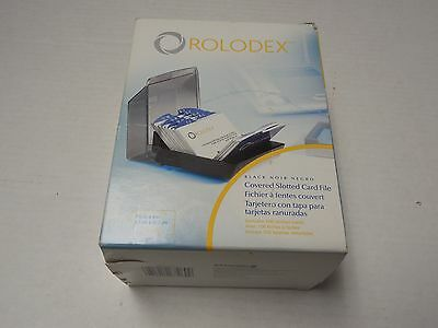 New Rolodex 67260 Covered Slotted Card File Black w/ 100 Cards