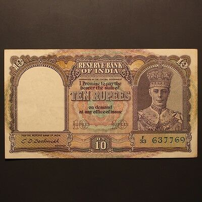 India 10 Rupees ND(1943) P#24 Banknote ChVF