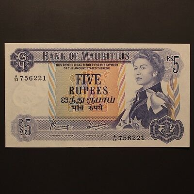 Mauritius 5 Rupees ND(1967) P#30c Banknote ChUnc