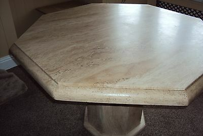 Travertine Marble Dining Table with 4 Chairs and Pedestal