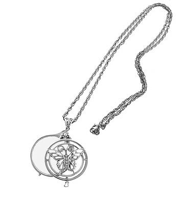 English Sterling Glass Magnifier with Butterfly Design on Chain  Magnifier