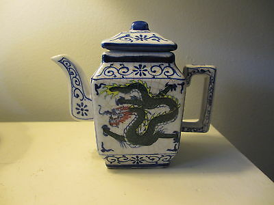 Vintage Antique Chinese Japanese Dragon Teapot Hand Painted Small Pretty! Estate