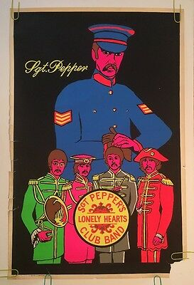 vintage blacklight poster The Beatles Sgt. Pepper's Lonely Hearts Club 1960's