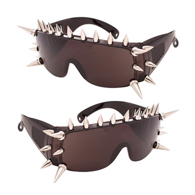 Spike Frame Sunglasses Black Large Tinted Stud Robot Punk Glasses