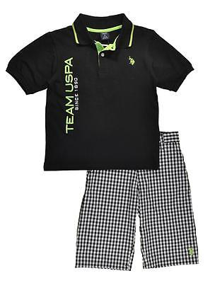 US Polo Assn Boys Black Polo 2pc Short Set Size 4 5 6 7 $40