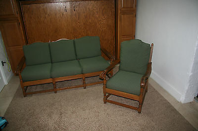 Jamestown Lounge Company Solid Oak Sofa and Chair ~1900's. Exc Cond/Must see!
