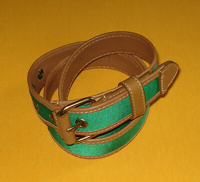 Women's Brooks Brothers Green Polyester With Leather Trims Belt Size M.