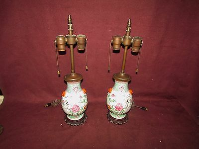 Pair Antique Chinese Porcelain Vases Mounted as Lamps