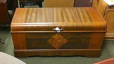 Antique Roos Large Cedar Chest With Beautiful Walnut Veneer Superb Craftsmanship