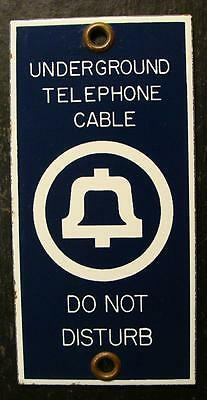 Antique Bell System Telephone Underground Cable 'Do Not Disturb' Porcelain Sign