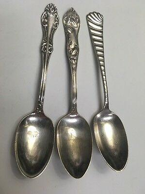 Lot of 3 Antique Silverplate Ornate Spoons WM Rogers 2.2OZ 63g Silver