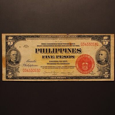 Philippines 5 Pesos - USA War Deptment Issue - 1936 P#83b Banknote VF