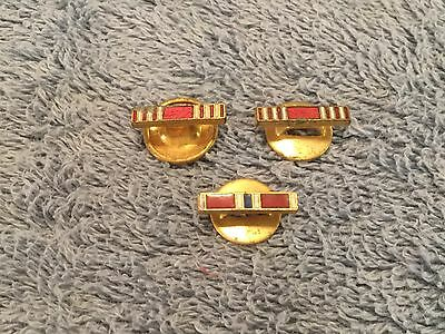 Vintage World War ll 2 Button Hole Bar Pin Lot Of 3