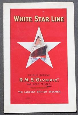 White Star Line Rms Olympic Rare 1St Class Promotional Foldout Brochure 1920's