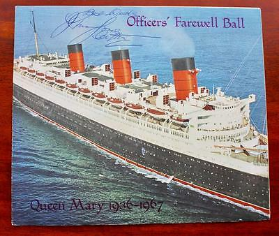 Cunard Line Rms Queen Mary Last Voyage Ball Signed Captain & Southampton Mayor