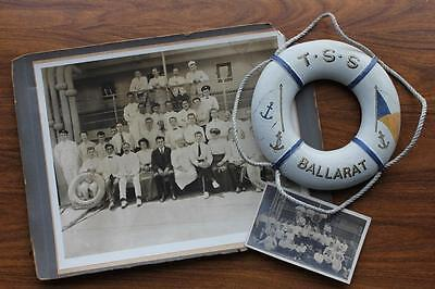 P&o Lunds Blue Anchor Line Rms Tss Ballarat Ships Life Belt & Crew Photos