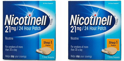 2 Packs of Nicotinell 21mg Patches - Step 1 ( Expiry 02 / 2018 ) NEW + FREE P&P
