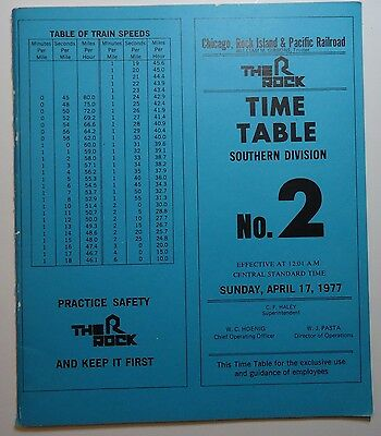 Rock Island Railroad 1977 Employee Timetable -  Southern Division  #2