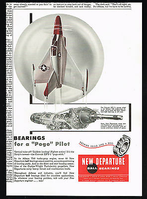 1954 US Navy Convair XFY-1 Take Off Jet New Departure Bearing Vintage Print Ad