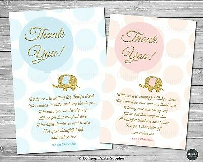 Elephant Baby Shower Personalised Thank You Card Note Pink Gold Boy Girl