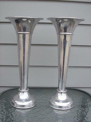 "Stunning POTTERY BARN Silver-Plated 12"" Trumpet Weighted Vases Set of 2"