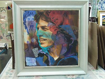 """Original Mixed Media of Mick Jagger """"Satisfaction"""" Signed by Gaylord Soli"""