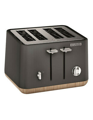 NEW Morphy Richards Scandi Aspects Wood 4 slice toaster:Titanium 240006