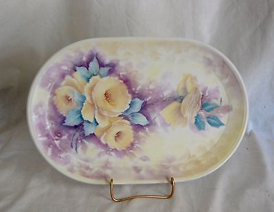 Antique Victorian Hand Painted Artist Signed Porcelain Dresser Tray