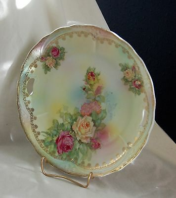 Antique Victorian Hand Painted Roses Porcelain Plate Charger