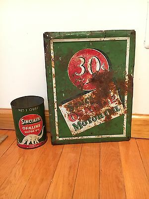 Original RARE Sinclair Opaline Motor Oil 30 Cents Quart Tin Sign gas Station