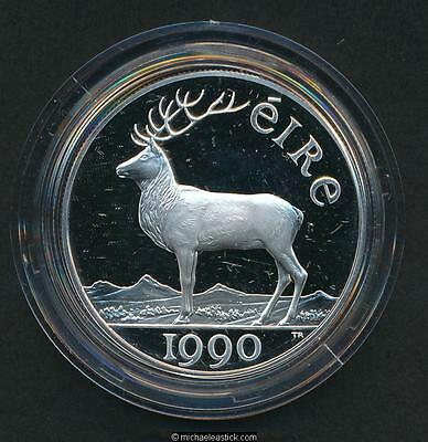 1990 Eire 28g Silver 10 ECU Silver Proof Coin.