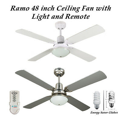 Ramo 48 Inch Ceiling Fan with Light and Remote Control in White or Silver
