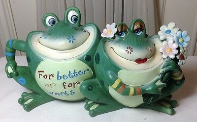 "Tow Green Frogs Decoration Collectible Polyresin Figurine Statue 11.5"" x 6.5"""