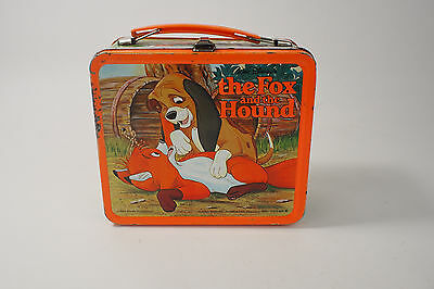 Disney's The Fox and the Hound Embossed Tin Metal Lunch Box Vintage 1981