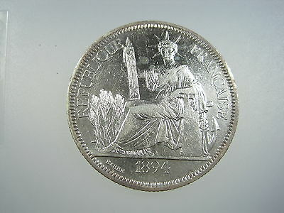 French Indo China 1 Piastre 1894 A Silver Proof Like Fic Indochina Crown Coin