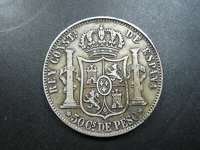 Philippines Spanish 50 Centavos 1885 Silver #c Sharp Spain Crown Money Coin