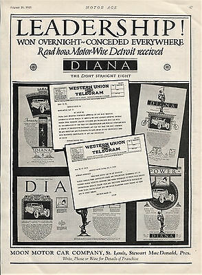 1925 Original DIANA Full Page CAR AD. Leadership!  Moon Motor Co., St. Louis