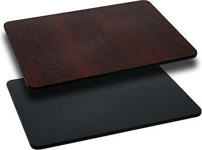 Flash 24'' x 42'' Rectangular Table Top with Black or Mahogany Reversible Top