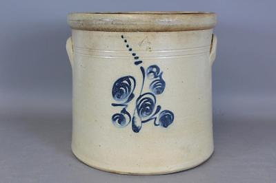 Early 19Th C New England Cobalt Blue Decorated 4 Gallon Stoneware Crock