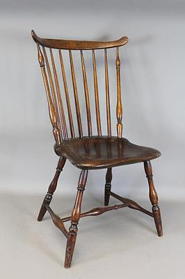 A Very Bold Late 18Th C Connecticut Windsor Fan Back Chair In Grungy Old Surface