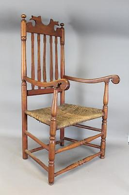 A Very Rare 18Th C Nh Carved Fish Tail Crested 5 Slat Bannister Back Armchair